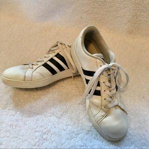 Adidas | White Fashion Sneakers With Black Stripes
